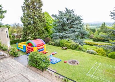 Bouncy castle in garden